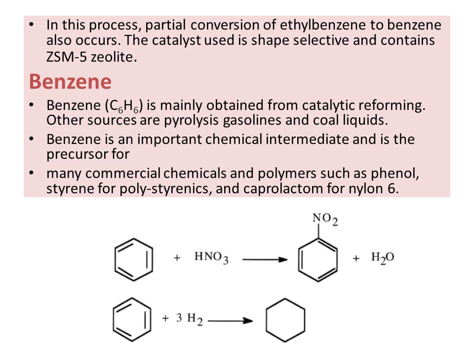 Ethylbenzene Ethylbenzene (C 6 H 5 CH 2 CH 3 ) is one of the C8 aromatic constituents in reformates and pyrolysis gasolines.