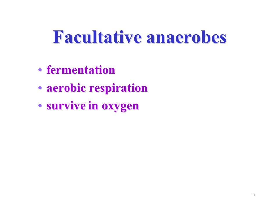 7 Facultative anaerobes fermentationfermentation aerobic respirationaerobic respiration survive in oxygensurvive in oxygen