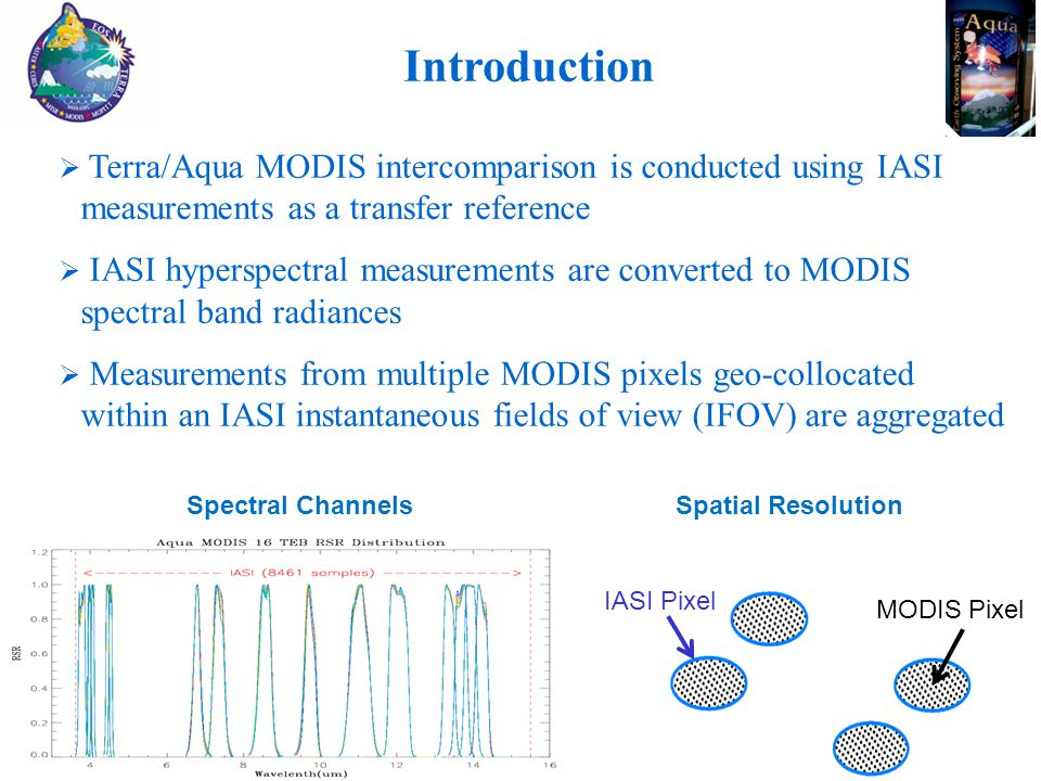 Introduction IASI Pixel MODIS Pixel Spectral Channels Spatial Resolution  Terra/Aqua MODIS intercomparison is conducted using IASI measurements as a transfer reference  IASI hyperspectral measurements are converted to MODIS spectral band radiances  Measurements from multiple MODIS pixels geo-collocated within an IASI instantaneous fields of view (IFOV) are aggregated