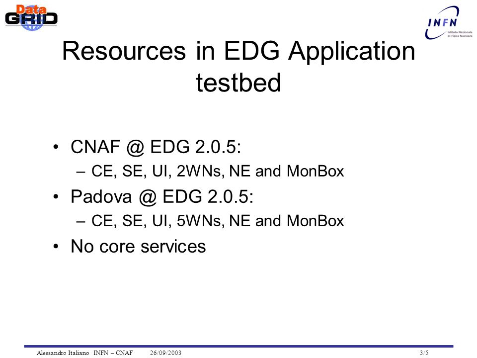 Alessandro Italiano INFN – CNAF 26/09/2003 3/5 Resources in EDG Application testbed CNAF @ EDG 2.0.5: –CE, SE, UI, 2WNs, NE and MonBox Padova @ EDG 2.0.5: –CE, SE, UI, 5WNs, NE and MonBox No core services
