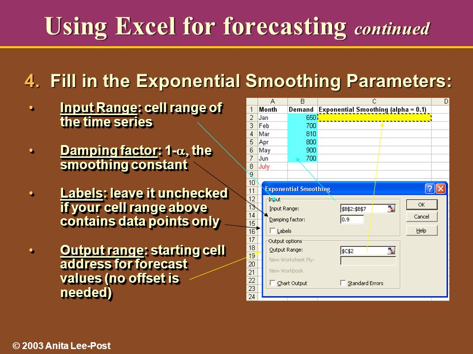 © 2003 Anita Lee-Post Using Excel for forecasting continued Input Range: cell range of the time seriesInput Range: cell range of the time series Damping factor: 1-  the smoothing constantDamping factor: 1-  the smoothing constant Labels: leave it unchecked if your cell range above contains data points onlyLabels: leave it unchecked if your cell range above contains data points only Output range: starting cell address for forecast values (no offset is needed)Output range: starting cell address for forecast values (no offset is needed) Input Range: cell range of the time seriesInput Range: cell range of the time series Damping factor: 1-  the smoothing constantDamping factor: 1-  the smoothing constant Labels: leave it unchecked if your cell range above contains data points onlyLabels: leave it unchecked if your cell range above contains data points only Output range: starting cell address for forecast values (no offset is needed)Output range: starting cell address for forecast values (no offset is needed) 4.
