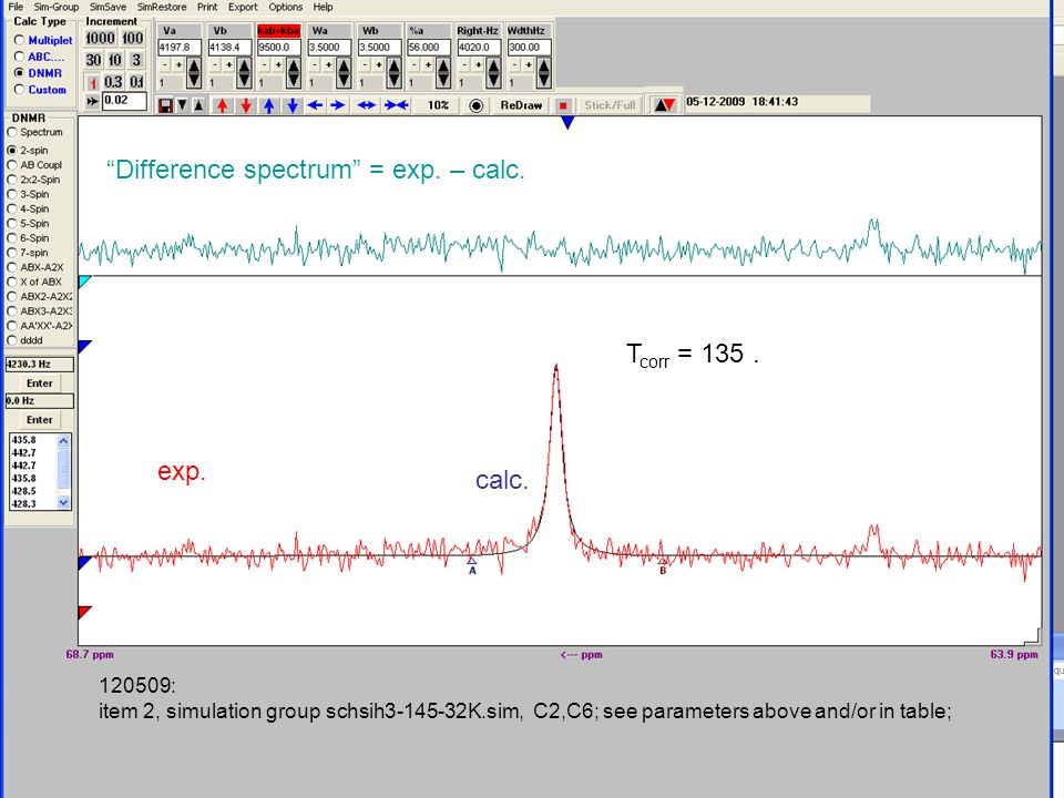 120509: item 2, simulation group schsih3-145-32K.sim, C2,C6; see parameters above and/or in table; Difference spectrum = exp.
