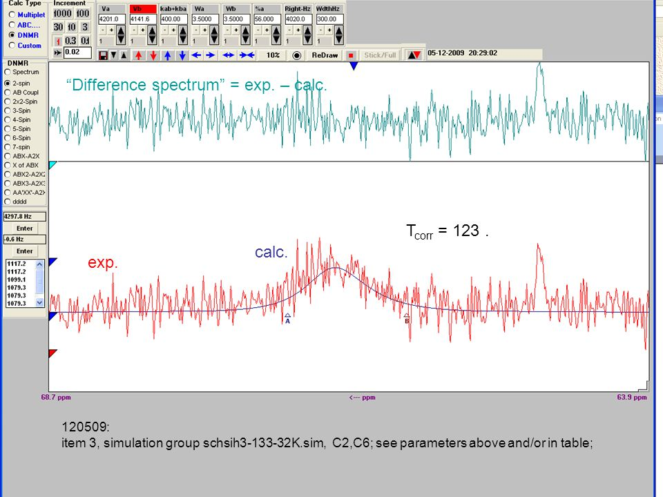 120509: item 3, simulation group schsih3-133-32K.sim, C2,C6; see parameters above and/or in table; Difference spectrum = exp.