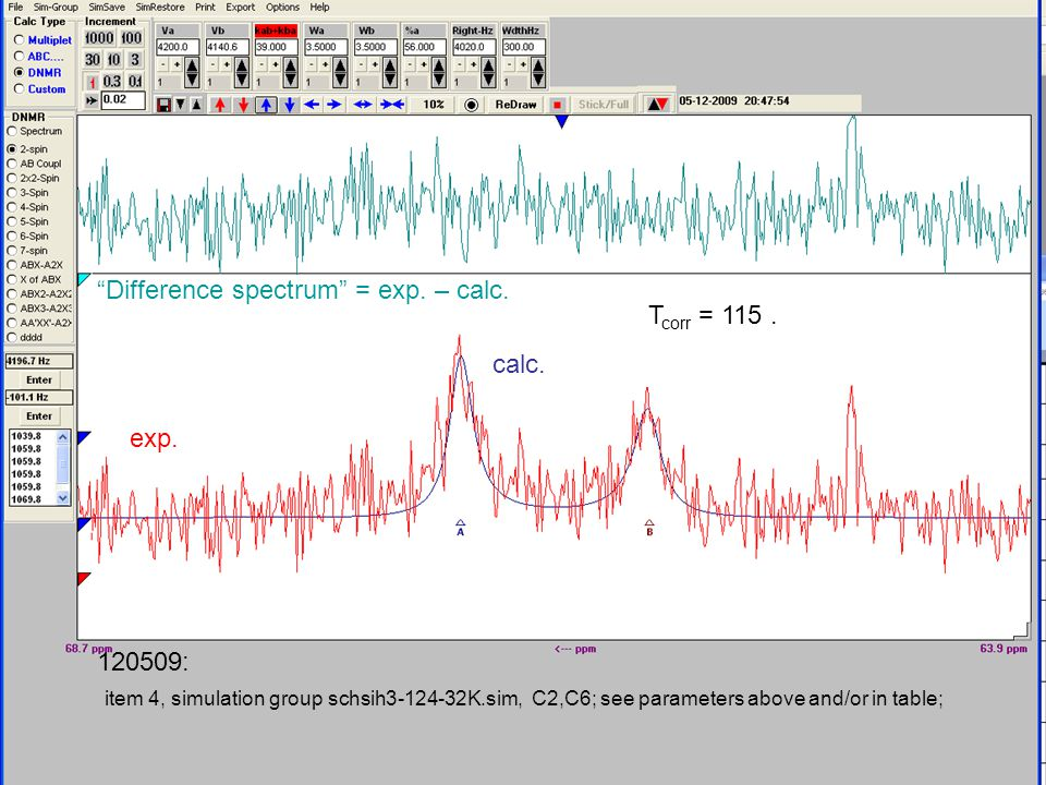 item 4, simulation group schsih3-124-32K.sim, C2,C6; see parameters above and/or in table; Difference spectrum = exp.