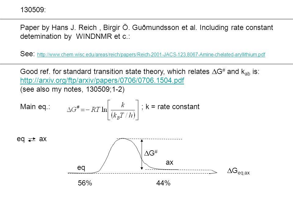 130509: Paper by Hans J. Reich, Birgir Ö. Guðmundsson et al. Including rate constant detemination by WINDNMR et c.: See: http://www.chem.wisc.edu/area