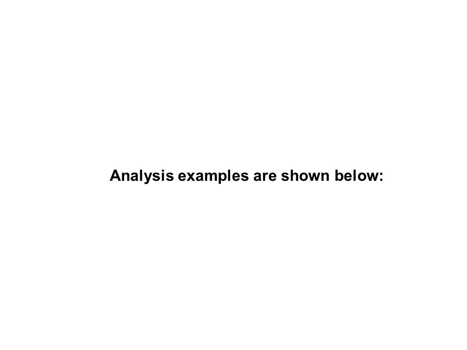 Analysis examples are shown below:
