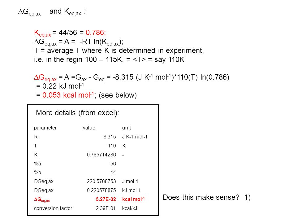 K eq,ax = 44/56 = 0.786:  G eq,ax = A = -RT ln(K eq,ax ); T = average T where K is determined in experiment, i.e.