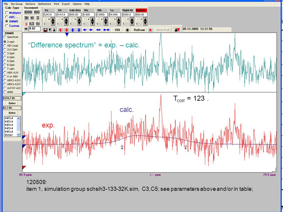120509: item 1, simulation group schsih3-133-32K.sim, C3,C5; see parameters above and/or in table; Difference spectrum = exp.