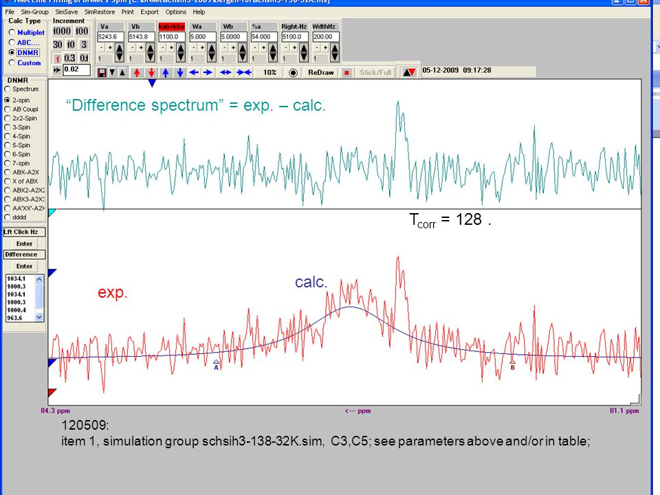 120509: item 1, simulation group schsih3-138-32K.sim, C3,C5; see parameters above and/or in table; Difference spectrum = exp.