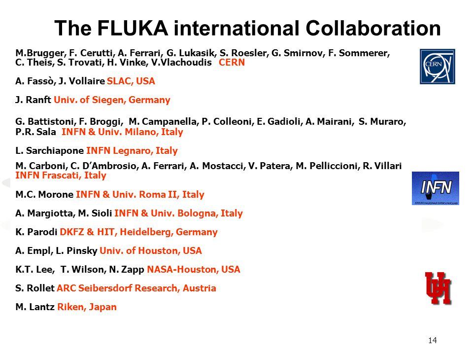14 The FLUKA international Collaboration M.Brugger, F. Cerutti, A. Ferrari, G. Lukasik, S. Roesler, G. Smirnov, F. Sommerer, C. Theis, S. Trovati, H.
