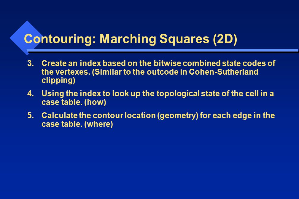 Contouring: Marching Squares (2D) 3.Create an index based on the bitwise combined state codes of the vertexes. (Similar to the outcode in Cohen-Suther