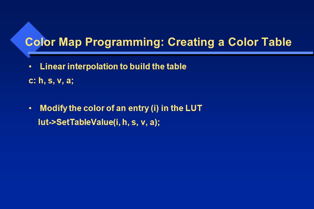 Color Map Programming: Creating a Color Table Linear interpolation to build the table c: h, s, v, a; Modify the color of an entry (i) in the LUT lut->