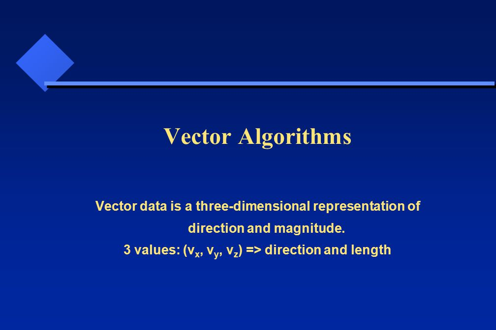Vector Algorithms Vector data is a three-dimensional representation of direction and magnitude.