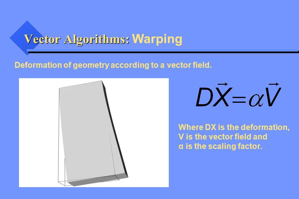 Vector Algorithms: Vector Algorithms: Warping Deformation of geometry according to a vector field. Where DX is the deformation, V is the vector field