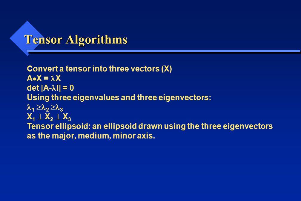 Tensor Algorithms Convert a tensor into three vectors (X) A  X = X det |A- I| = 0 Using three eigenvalues and three eigenvectors: 1  2  3 X 1  X 2
