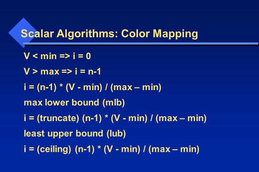 V i = 0 V > max => i = n-1 i = (n-1) * (V - min) / (max – min) max lower bound (mlb) i = (truncate) (n-1) * (V - min) / (max – min) least upper bound