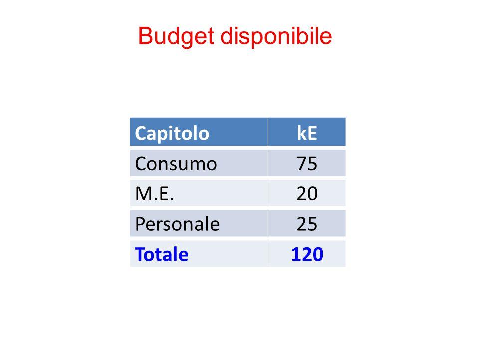 Budget disponibile CapitolokE Consumo75 M.E.20 Personale25 Totale120