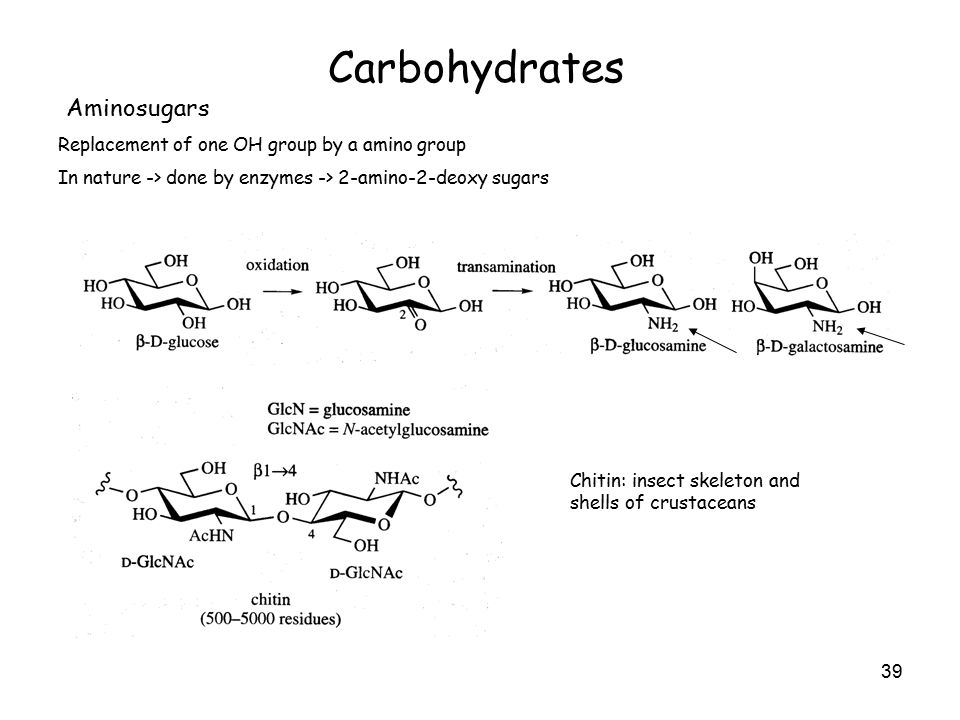 39 Carbohydrates Aminosugars Replacement of one OH group by a amino group In nature -> done by enzymes -> 2-amino-2-deoxy sugars Chitin: insect skeleton and shells of crustaceans