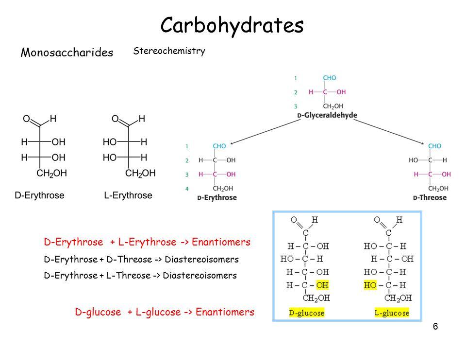 6 Carbohydrates Monosaccharides Stereochemistry D-Erythrose + L-Erythrose -> Enantiomers D-Erythrose + D-Threose -> Diastereoisomers D-Erythrose + L-Threose -> Diastereoisomers D-glucose + L-glucose -> Enantiomers