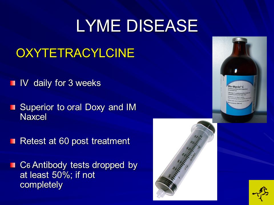 LYME DISEASE OXYTETRACYLCINE IV daily for 3 weeks Superior to oral Doxy and IM Naxcel Retest at 60 post treatment C 6 Antibody tests dropped by at least 50%; if not completely