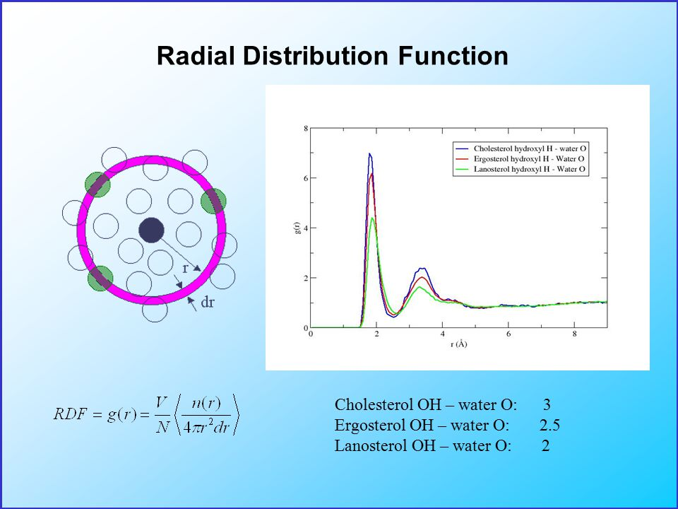 Radial Distribution Function Cholesterol OH – water O: 3 Ergosterol OH – water O: 2.5 Lanosterol OH – water O: 2