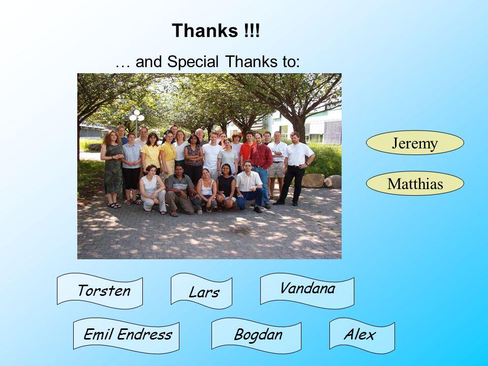 Thanks !!! … and Special Thanks to: Jeremy Matthias Emil Endress Torsten AlexBogdan Vandana Lars