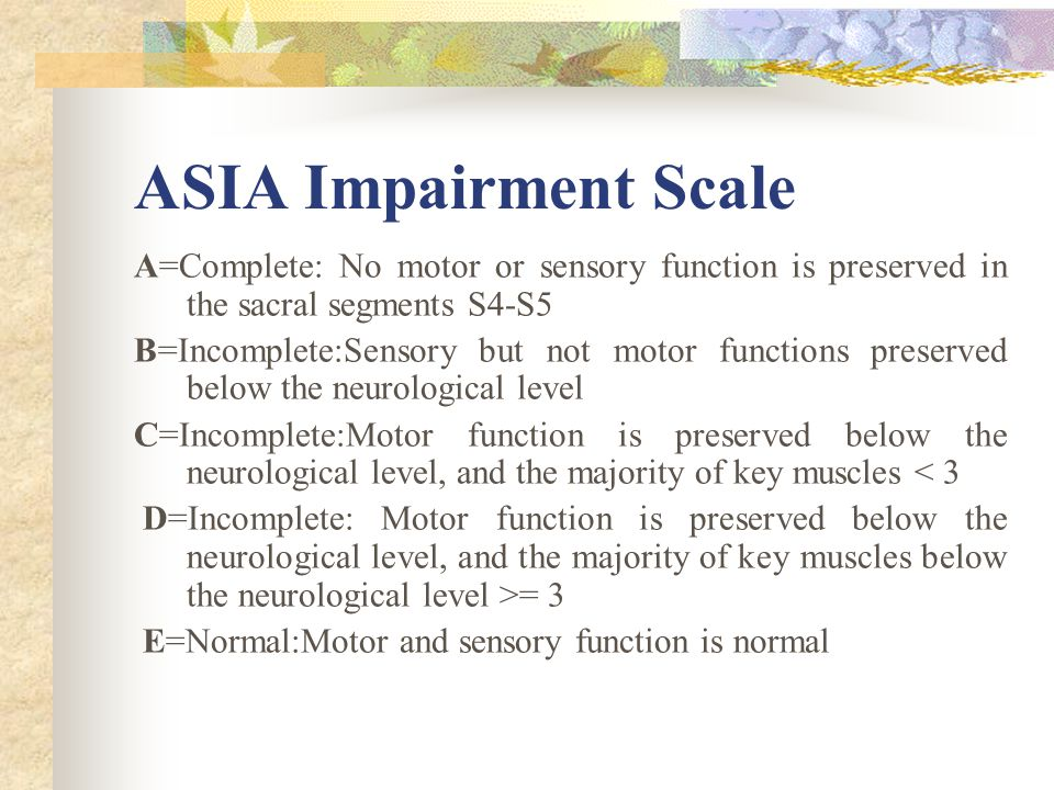 ASIA Impairment Scale A=Complete: No motor or sensory function is preserved in the sacral segments S4-S5 B=Incomplete:Sensory but not motor functions