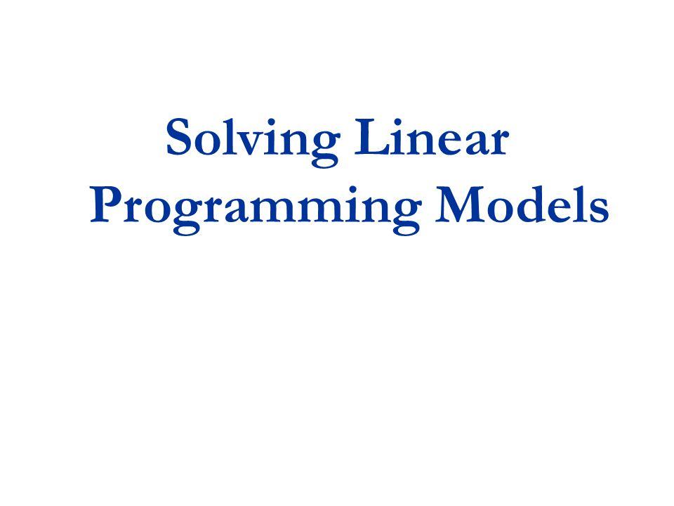 Solving Linear Programming Models