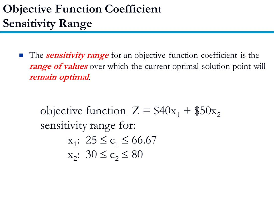 The sensitivity range for an objective function coefficient is the range of values over which the current optimal solution point will remain optimal.