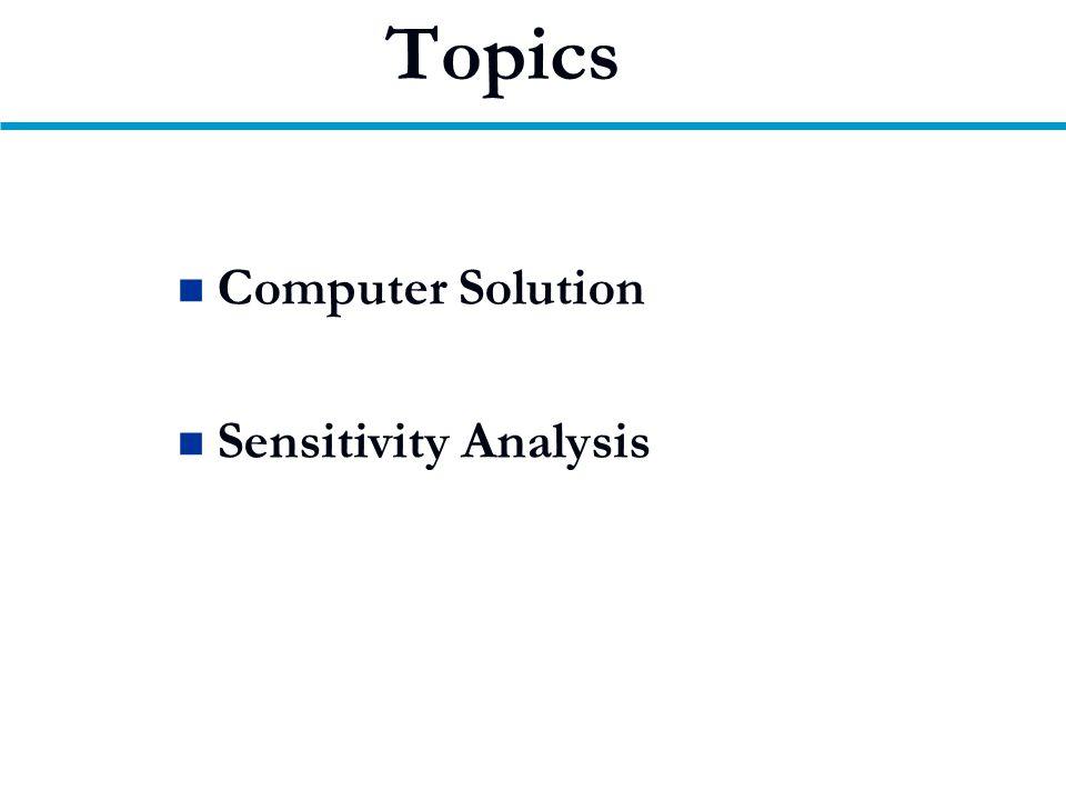 Topics Computer Solution Sensitivity Analysis