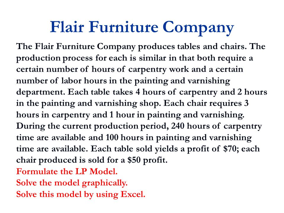 Flair Furniture Company The Flair Furniture Company produces tables and chairs.