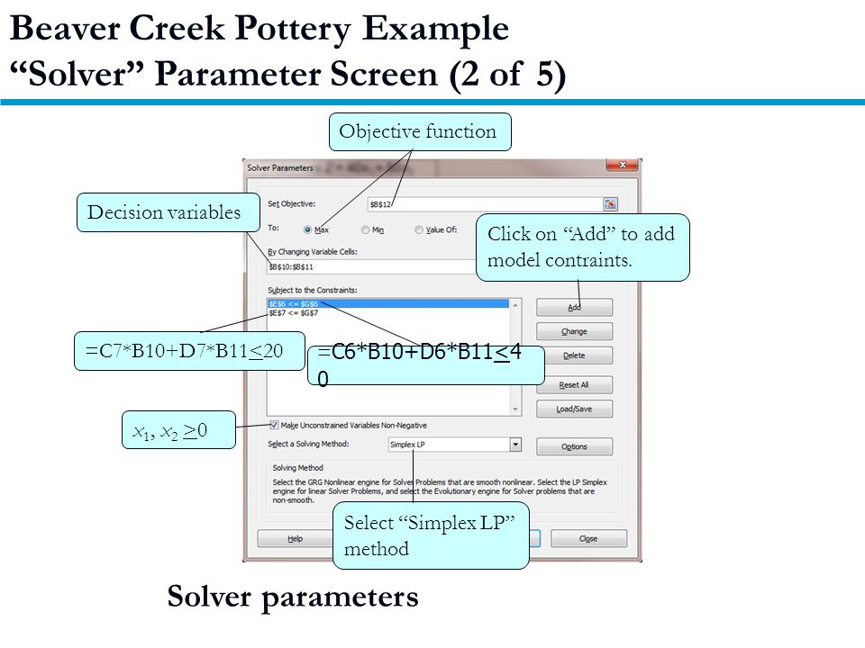 Beaver Creek Pottery Example Solver Parameter Screen (2 of 5) Solver parameters Objective function Decision variables Click on Add to add model contraints.