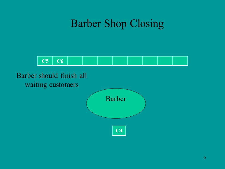 9 C5C6 Barber Barber Shop Closing C4 Barber should finish all waiting customers