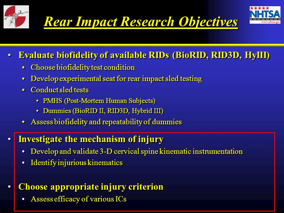 Rear Impact Research Objectives Evaluate biofidelity of available RIDs (BioRID, RID3D, HyIII) Choose biofidelity test condition Develop experimental seat for rear impact sled testing Conduct sled tests PMHS (Post-Mortem Human Subjects) Dummies (BioRID II, RID3D, Hybrid III) Assess biofidelity and repeatability of dummies Investigate the mechanism of injury Develop and validate 3-D cervical spine kinematic instrumentation Identify injurious kinematics Choose appropriate injury criterion Assess efficacy of various ICs Evaluate biofidelity of available RIDs (BioRID, RID3D, HyIII) Choose biofidelity test condition Develop experimental seat for rear impact sled testing Conduct sled tests PMHS (Post-Mortem Human Subjects) Dummies (BioRID II, RID3D, Hybrid III) Assess biofidelity and repeatability of dummies Investigate the mechanism of injury Develop and validate 3-D cervical spine kinematic instrumentation Identify injurious kinematics Choose appropriate injury criterion Assess efficacy of various ICs
