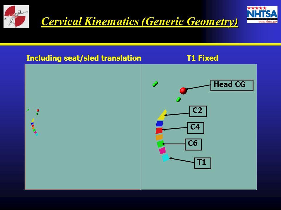 Cervical Kinematics (Generic Geometry) Including seat/sled translationT1 Fixed C2 C4 C6 T1 Head CG
