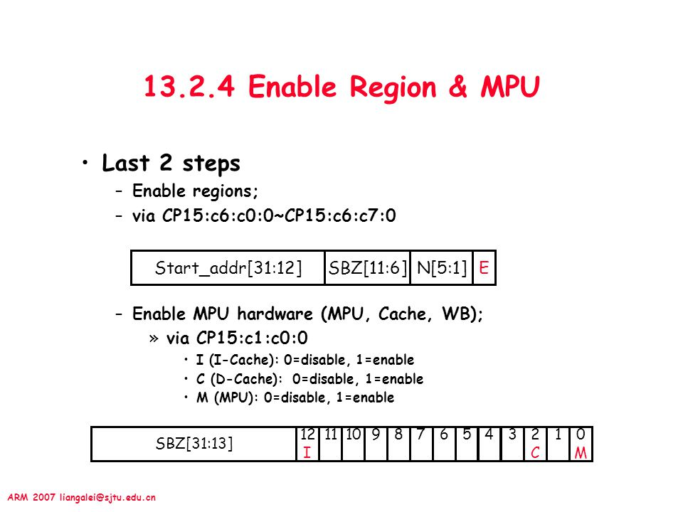 ARM 2007 liangalei@sjtu.edu.cn 13.2.4 Enable Region & MPU Last 2 steps –Enable regions; –via CP15:c6:c0:0~CP15:c6:c7:0 –Enable MPU hardware (MPU, Cache, WB); »via CP15:c1:c0:0 I (I-Cache): 0=disable, 1=enable C (D-Cache): 0=disable, 1=enable M (MPU): 0=disable, 1=enable SBZ[31:13] 987654101132C2C 10M0M 12 I Start_addr[31:12]SBZ[11:6]N[5:1]E