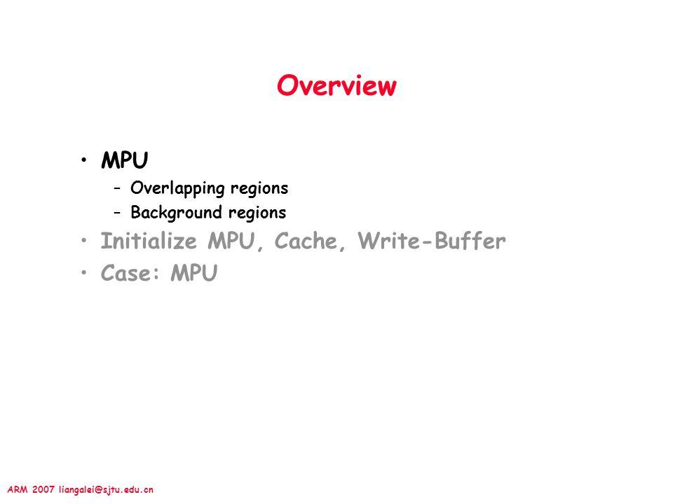 ARM 2007 liangalei@sjtu.edu.cn 13.2.3 Set Region's cache & WB Three Control Registers in CP15 –CP15:c2:c0:0 —— all data regions Cache enable bits –CP15:c2:c0:1 —— all instruction regions Cache –CP15:c3:c0:0 —— Write Buffer applied data regions