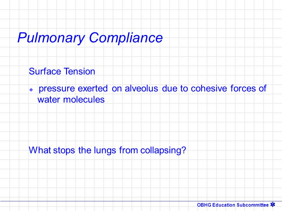 OBHG Education Subcommittee Pulmonary Compliance Surface Tension  pressure exerted on alveolus due to cohesive forces of water molecules What stops t