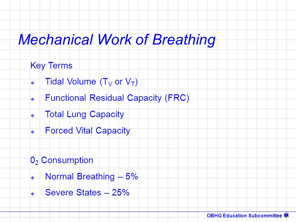 OBHG Education Subcommittee Mechanical Work of Breathing Key Terms  Tidal Volume (T V or V T )  Functional Residual Capacity (FRC)  Total Lung Capa