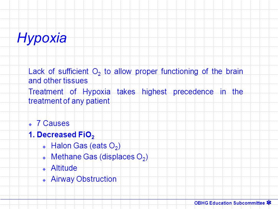 OBHG Education Subcommittee Hypoxia Lack of sufficient O 2 to allow proper functioning of the brain and other tissues Treatment of Hypoxia takes highe