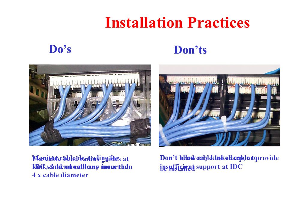 Installation Practices Monitor cable de-reeling for kinks and smooth any incurred Don't allow any kinked cable to be installed Use cable bend radius guides at IDC, & bend cable no more than 4 x cable diameter Don't bend cable too sharp, or provide insufficient support at IDC Do's Don'ts