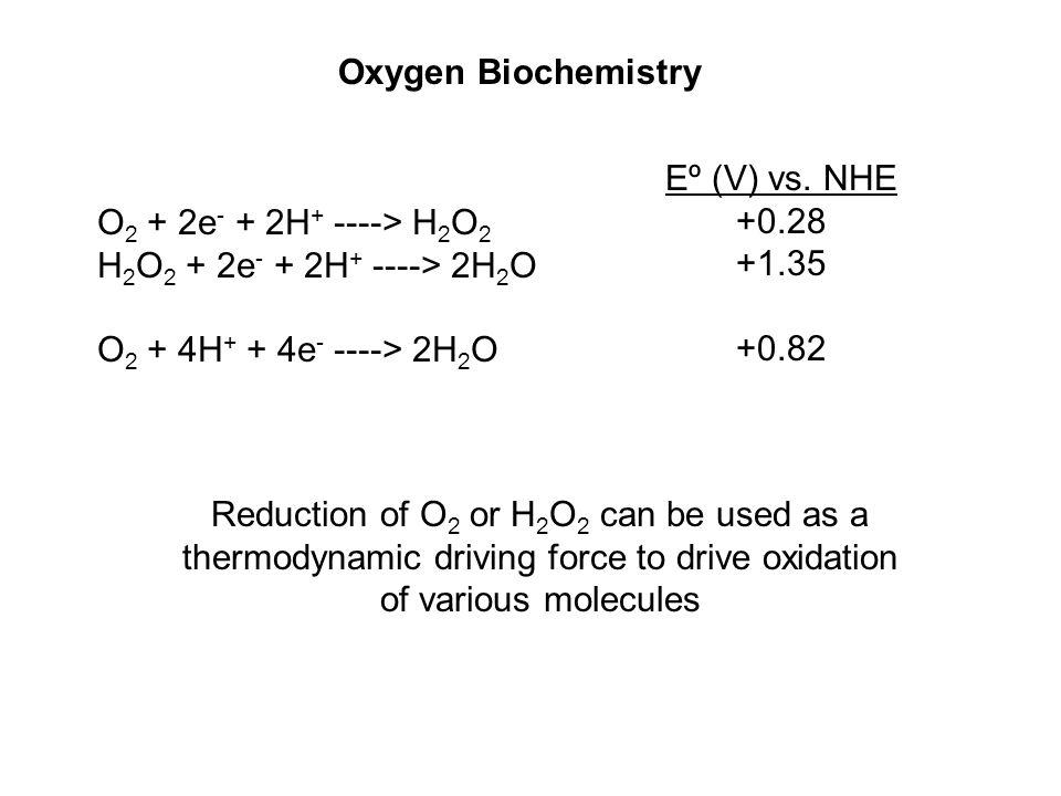 O 2 + 2e - + 2H + ----> H 2 O 2 H 2 O 2 + 2e - + 2H + ----> 2H 2 O O 2 + 4H + + 4e - ----> 2H 2 O Eº (V) vs. NHE +0.28 +1.35 +0.82 Oxygen Biochemistry