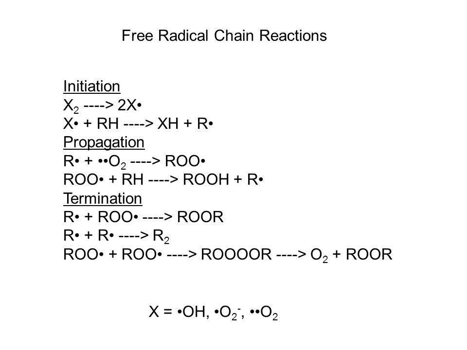 Initiation X 2 ----> 2X X + RH ----> XH + R Propagation R + O 2 ----> ROO ROO + RH ----> ROOH + R Termination R + ROO ----> ROOR R + R ----> R 2 ROO + ROO ----> ROOOOR ----> O 2 + ROOR Free Radical Chain Reactions X = OH, O 2 -, O 2