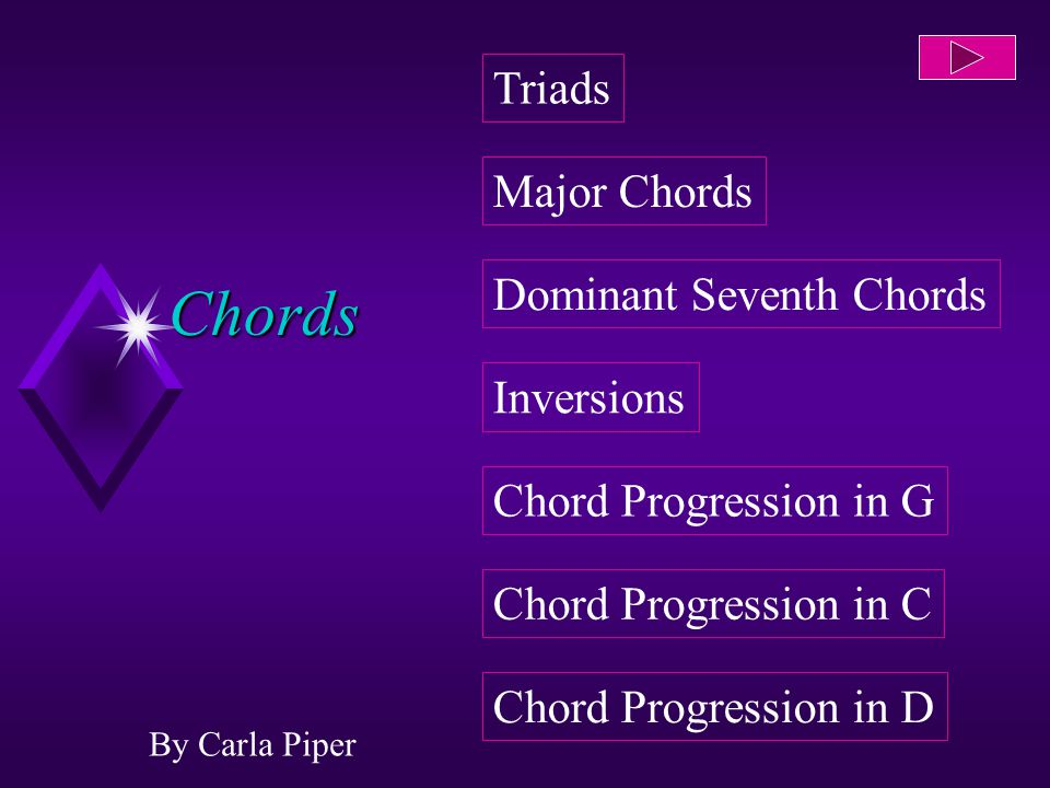 Chords By Carla Piper Dominant Seventh Chords Inversions Chord Progression in G Chord Progression in C Chord Progression in D Major Chords Triads