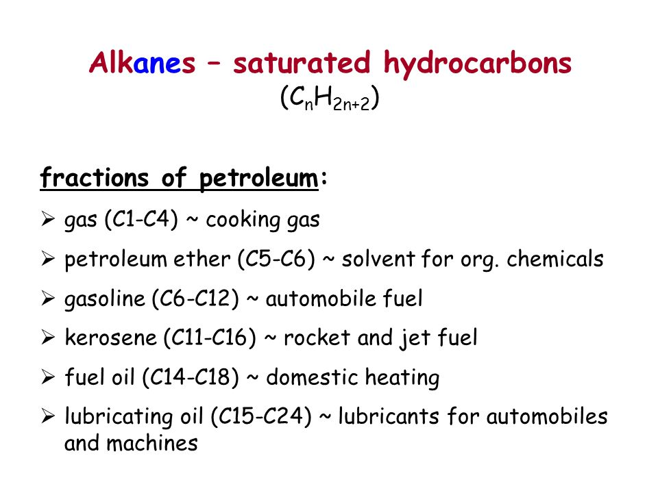 Alkanes – saturated hydrocarbons (C n H 2n+2 ) fractions of petroleum:  gas (C1-C4) ~ cooking gas  petroleum ether (C5-C6) ~ solvent for org. chemic
