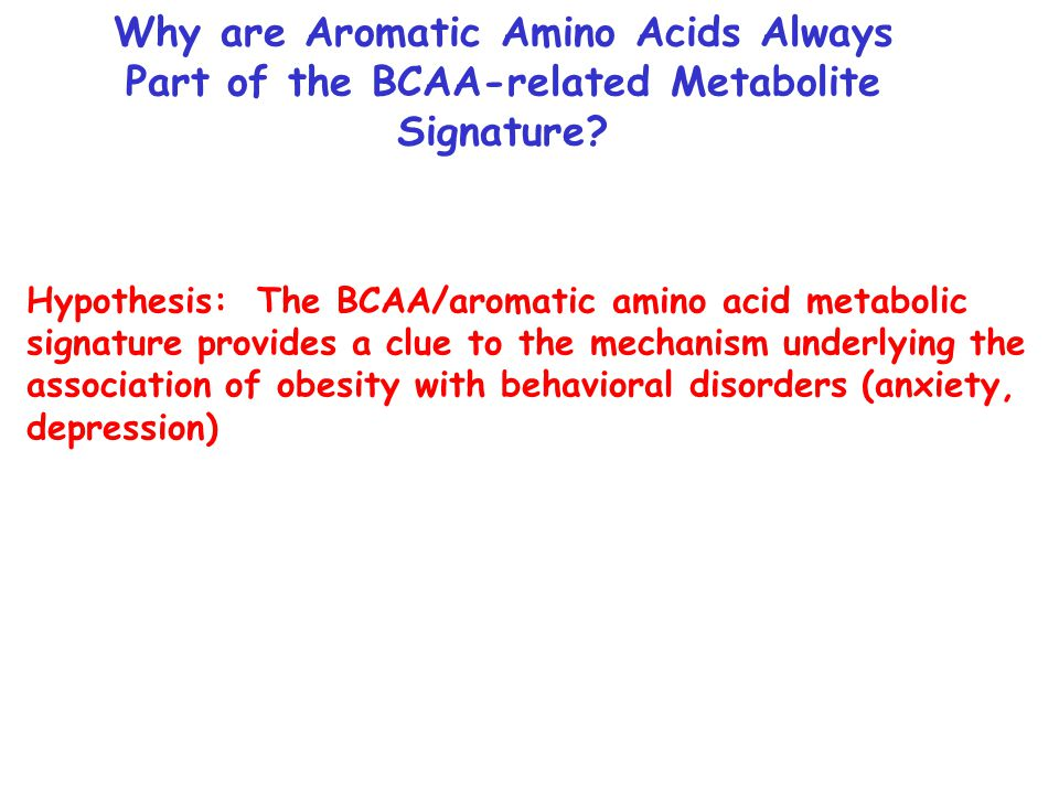 Hypothesis: The BCAA/aromatic amino acid metabolic signature provides a clue to the mechanism underlying the association of obesity with behavioral disorders (anxiety, depression) Why are Aromatic Amino Acids Always Part of the BCAA-related Metabolite Signature?