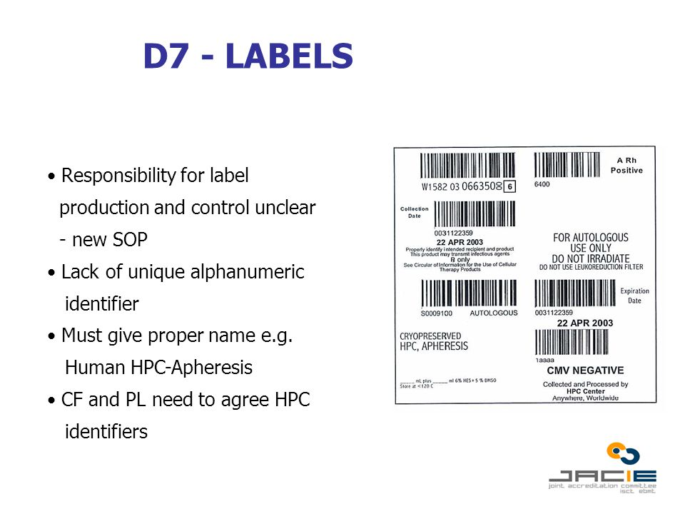 D7 - LABELS Responsibility for label production and control unclear - new SOP Lack of unique alphanumeric identifier Must give proper name e.g.