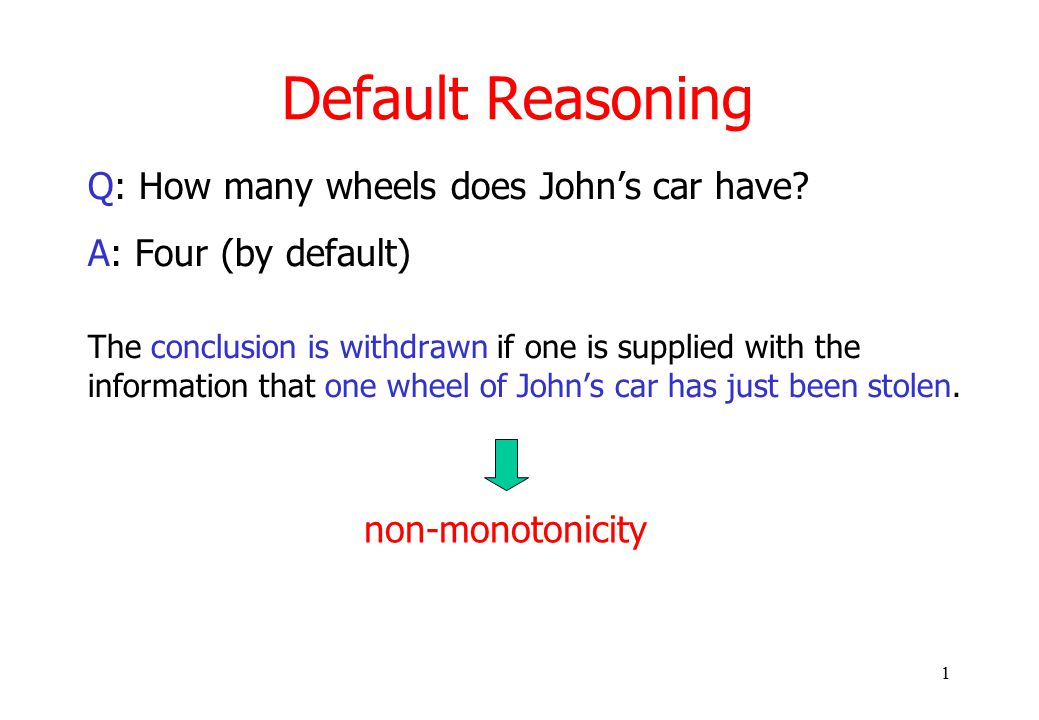 1 Default Reasoning Q: How many wheels does John's car have.