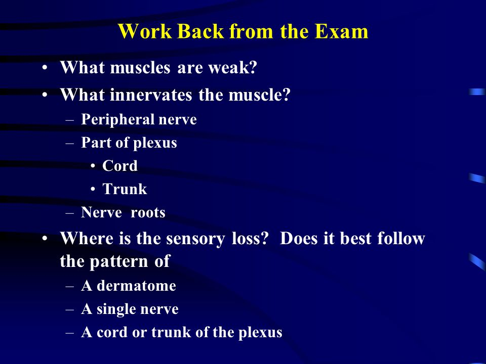 Work Back from the Exam What muscles are weak? What innervates the muscle? –Peripheral nerve –Part of plexus Cord Trunk –Nerve roots Where is the sens