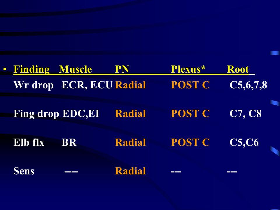 FindingMusclePNPlexus*Root Wr drop ECR, ECURadialPOST C C5,6,7,8 Fing drop EDC,EIRadial POST C C7, C8 Elb flx BRRadialPOST C C5,C6 Sens ----Radial----